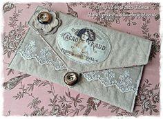 Linen & lace pouch