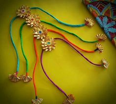 Diy Lace Ribbon Flowers, Fabric Flowers, Thread Jewellery, Diy Jewellery, Ethnic Jewelry, Handmade Rakhi Designs, Raksha Bandhan Gifts, Rakhi Making, Rakhi Online