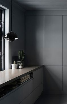Kitchen ideas, decor, cabinets, design: A home in grey, blue and wood - via Coco Lapine Design blog
