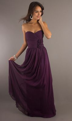 Classic Strapless Sweetheart Chiffon Floor-length Dress