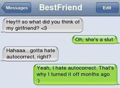his gf :) - - Autocorrect Fails and Funny Text Messages - SmartphOWNED Funny Text Messages Fails, Funny Texts Jokes, Funny Texts Crush, Text Jokes, Stupid Funny Memes, Funny Laugh, Funny Relatable Memes, Fail Texts, Crazy Funny
