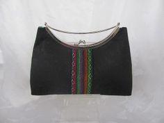 black/ tribal silk clutch purse Handmade silk by jemdesign567, $40.00
