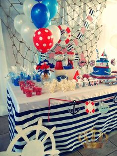 Nautical birthday party decorations! See more party planning ideas at CatchMyParty.com!