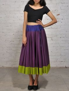 Purple Green Cotton Ghagra Skirt