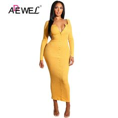db416f1697ce ADEWEL 2018 Sexy Yellow Long Sleeve Bodycon Party Maxi Dress Women Casual  Slim Snap Button Ribbed Ankle Length Long Dress