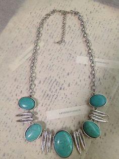 Turquoise Tibetan Silver Bib Necklace New | eBay