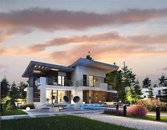 Luxury House Concept with Garage & Pool Area - House And Decors Two Story House Plans, Two Story Homes, Dream Home Design, House Design, Model House Plan, Sims House, Modern Luxury, Ground Floor, Home Fashion