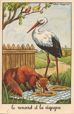 """""""The Fox & the Stork"""", by Aesop pieces) Fables D'esope, Photo Images, Animal Antics, Fox Art, Art Et Illustration, Nursery Rhymes, Altered Art, Cute Art, Fairy Tales"""