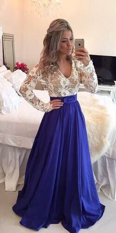 Sapphire Blue Patchwork White Plunging Neckline Long Sleeve Maxi Dress