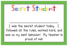 Primary Possibilities: Positive Behavior Rewards  Secret Student with Freebie