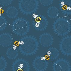 Busy Bees in Blue from Sunflowers by Jane Dixon for Andover Fabrics