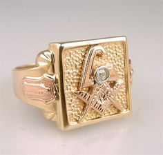 pictures of antique jewelry | Fine Antique Gold Masonic Diamond Lodge Ring Vintage Fraternal Jewelry ...