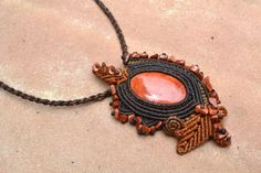 Red Jasper Macrame Necklace/ Abstract/ Macrame by SpiritYSol