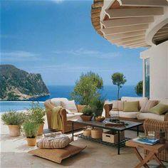 stone patio design and whicker furniture