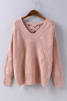 Pastel Pink Cross Back Hollow Sweater #10-30 #meta-filter-color-pink #meta-filter-size-os #new #pullovers-sweaters
