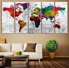 CANVAS ART Print - World Map Canvas Print, X Large Art Watercolor World Map, Extra Large Watercolor World Map Print