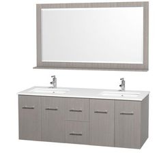 Wyndham Collection - Centra 60 In. Double Vanity in Grey Oak with Man-Made Stone Top in White and Square white Sinks - WCV00960GOWHDB - Home Depot Canada