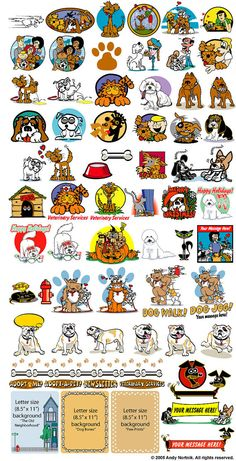 Dog Clip Art Clipart  65 ORIGINAL IMAGES!  Each image is provided in three Industry-Standard formats: 1) .gif with transparent background 300px x 300px 2) .jpg 300px X 300px 3) .eps High Resolution (600dpi) Scalable and Resizeable Vector  A handy PDF catalog is included to find what you need fast!  INSTANT DOWNLOAD: All orders are sent to the email address associated with your Etsy account and are also available on your Order Details page immediately after completed payment.  Images may be…