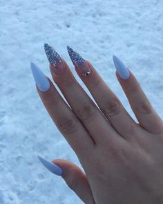 Light Blue Nails, Bright Nails, Light Blue Nail Designs, Nagellack Design, Almond Acrylic Nails, Fire Nails, Dream Nails, Nagel Gel, Stylish Nails