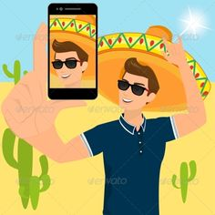 Guy with Sombrero Selfie by Julia_Tim Selfie of funny guy wearing a sombrero. Contains EPS10 and high-resolution JPEG