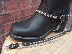 Biker Boots BOOT CHAINS Black Leather with Round by bobkitchener, $20.00