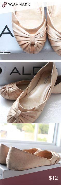 Aldo champagne ballet flats Kentleigh satin champagne flats • preloved adorable Aldo flats •  wearable for long standing hours at work or walking to school • bundle and save 🎀 Aldo Shoes Flats & Loafers