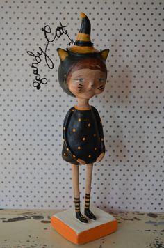 "Halloween Folk Art ""Scardey Cat Doll"" Paperclay"