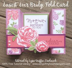 """Ok, now, this is just too much fun! My friend Linda H. recently shared a card sample with a fun new """"bridge"""" fold I had to try. Four quick scores and one """"bridge"""" strip later, I had a great addition t"""