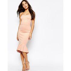 ASOS Pephem Bandeau Midi Dress ($65) ❤ liked on Polyvore featuring dresses, red, red midi dress, midi dress, zipper dress, mid calf dresses and bandeau dress
