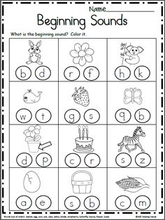 Free Beginning Sounds Worksheets . Free Beginning Sounds Worksheets. Look at each each picture and color the beginning sound. Kindergarten and preschool Easter Worksheets, Free Kindergarten Worksheets, Kindergarten Readiness, Reading Worksheets, Free Preschool, Preschool Learning, Matching Worksheets, Printable Worksheets, Letter Worksheets For Preschool