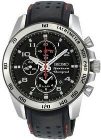 Seiko Sportura Black Watch SNAE65 Mens Black Leather Band