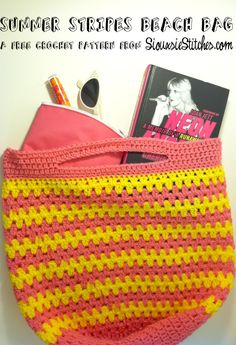 Summer Stripes Beach Bag Free Crochet Pattern