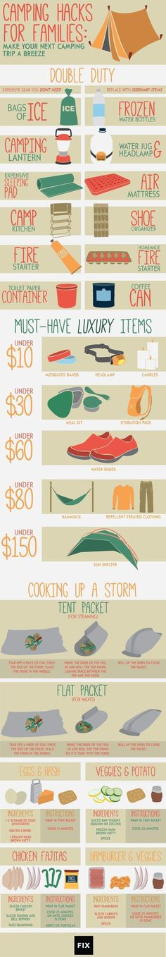 Follow these fun camping hacks to save time, space, and money on your next family trip! #Camping #Infographic