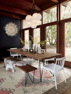 Mix of industrial and MCM dining furniture.