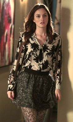 """Blair Waldorf proves you can instantly update a classic tweed skirt with a printed blouse and lace textured tights on Gossip Girl """"The Townie"""". Shop her Ulla Johnson skirt: http://www.pradux.com/ulla-johnson-solange-skirt-6247?q=s1"""