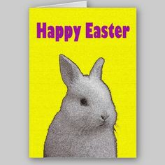 Fuzzy Easter Bunny Greeting Card available at www.zazzle.com/stevebrownleeart