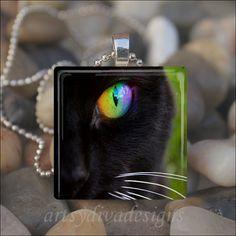 BLACK CAT EYE Kitty Cat Green Eye Glass Tile by ArtsyDivaDesigns, $9.99