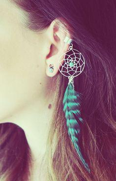 f846b25076c7b Handmade Silver Ear Cuff, Teal Dream Catcher Ear Cuff, Feather Ear Cuff,  Fake Earring, Turquoise Earring, Festival,Hippie, Tragus Earring