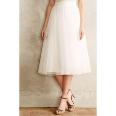 Bailey 44 Tulle Midi Skirt (10.380 RUB) ❤ liked on Polyvore featuring skirts, bottoms, ivory, knee length a line skirt, pink midi skirt, ivory skirt, a line skirt and midi skirt