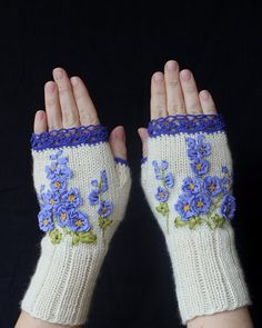 Hand Knitted Fingerless Gloves, Gloves & Mittens, Gift Ideas, For Her, Winter Accessories, Ivory, Blue, Flower, Spring Celebrations, Women
