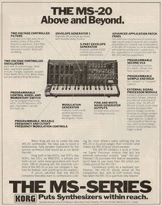 Retro Synth Ads: Korg MS-20, Keyboard 1978