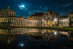 Dresden Zwinger with full moon by Sebastian Rose on 500px