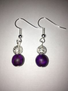 Purple Howlite Turquoise Dangle Earrings with by BikeronCrafts, £3.00