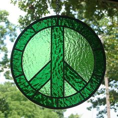 Green Peace Sign Stained Glass Suncatcher by livingglassart home of oddballs and oddities, via Flickr