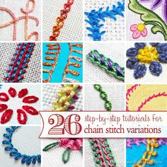 Chain stitch is one of the basic embroidery stitches, but it has so many variations! Here's a list of 26 variations on chain stitch, with tutorials for each of them.