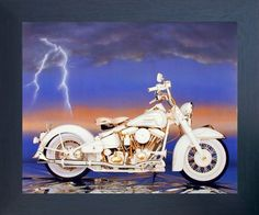 Add a quirky touch to your home decor with this Harley Sturgis motorcycle art print framed poster. This wonderful piece of framed art will infusing a fun element into your living space and it would be a perfect addition for any young boy bedroom. Its wooden espresso frame accentuates the poster mild tone. The frame is made from solid wood measuring 20x24 inches with a smooth gesso finish. This framed poster includes a wire hanger on the back for easy display.