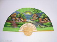 Urban View Oriental Big Green Wall Fan Hand Painted Bamboo Decoration Thailand | eBay 60 x 35