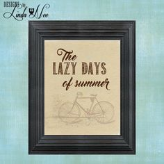 PRINTED Wall Decor ~ PRINTED Wall Decor ~ Lazy Days of Summer Bicycle ~ Summer Print ~ Beach Print ~ Summer ~ Beach Lover ~ Flip Flops ~