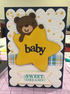 Handmade baby shower card using Baby Steps Cricut cartridge.