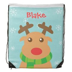 Kids Christmas Cute Red Nosed Reindeer Rudolph Drawstring Backpack. Instead of wrapping Christmas gifts, pack them in this backpack for kids and personalise with their names!